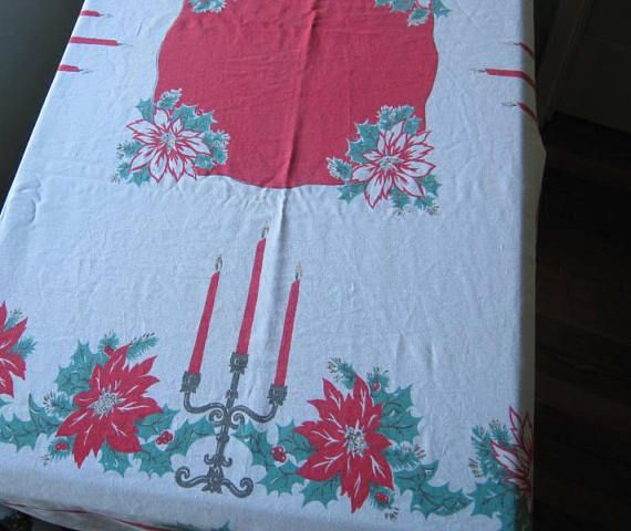 Midcentury Candle/Poinsettia Print Christmas Tablecloth 44 x