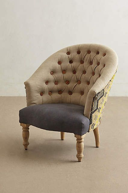 Anthropologie EU Kalver Armchair. Simply put, this European-inspired respite is a classic piece for your living room. Artfully covered in an array of linen and hand-knotted wool, its rounded back and button tufts recall the fundamentals of 19th-century furniture.