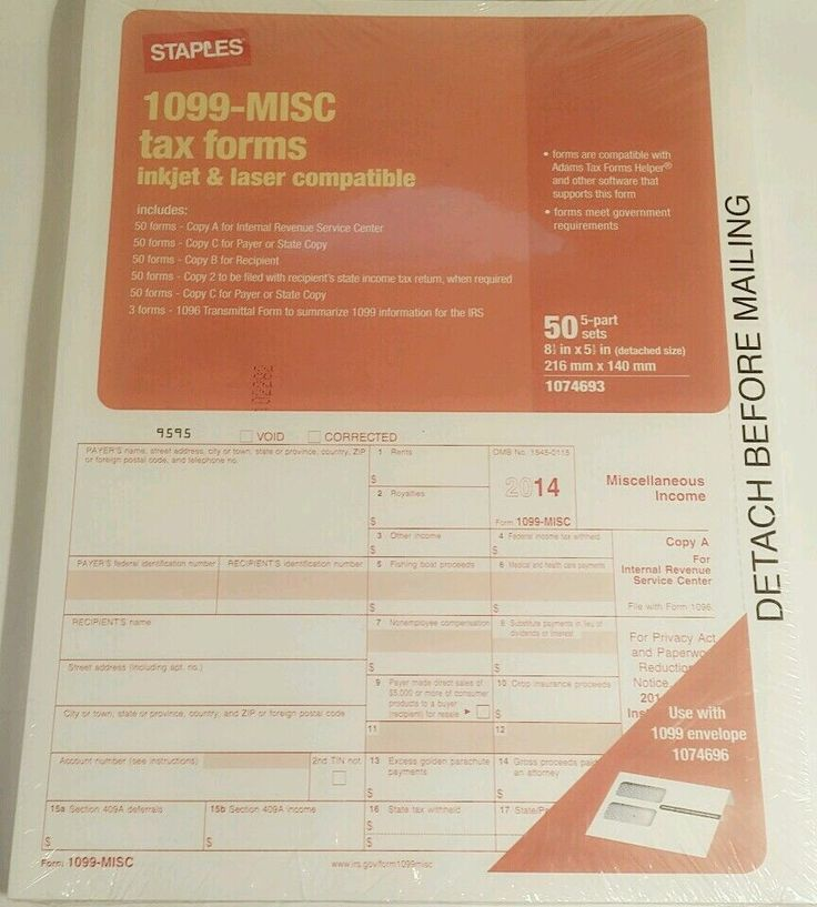 1099 Misc Tax Forms Tax Year 2014 1099 Tax Forms 50  5-part Sets #Staples #eBay #Auction #Sale #Wholesale #Products #tax