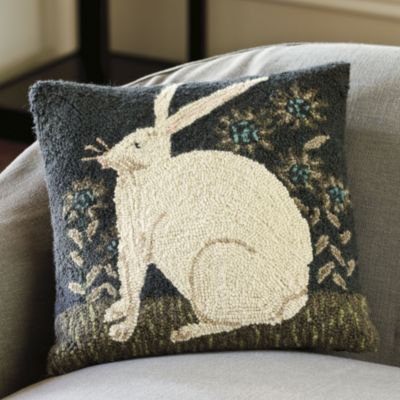 Antique Hare Hooked Pillow | Ballard Designs