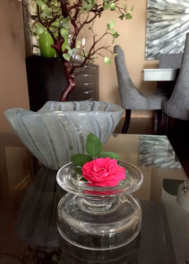 Sometimes a flower from the garden makes all the difference. Placed in a candle holder flipped upside down with some beautiful greens.  George Vancouver Rose #Style19