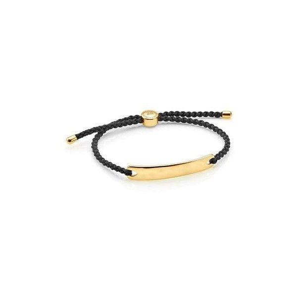 Monica Vinader Gold Vermeil Havana Men's Friendship Bracelet - Black ($150) ❤ liked on Polyvore featuring men's fashion, men's jewelry, men's bracelets, mens bracelets, mens cord bracelets and mens watches jewelry