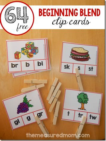 FREE 64 Blends Clip Cards - these are great for kids learning phonics, sounding out words in Kindergarten, 1st grade, and 2nd grade. (homeschool, english)
