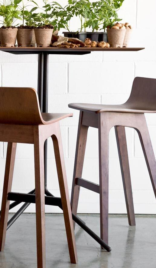 A quirky addition to the modern home, the Ava bar stools make meals fun. Constructed of solid wood and wood veneer in a Walnut finish.