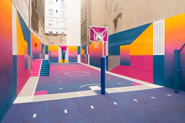 Pigalle Duperré, by Ill-Studio, Pigalle and Nike The 9th arondissement basketball court in Paris has been transformed — this time in hues of blue, pink, purple and orange. With support from Nike, art direction and graphic design firm Ill-Studio has collaborated with the eponymous fashion brand Pigalle to completely redesign the space. 22 Rue Duperré, 75009 Paris, France. Photography: Sebastien Michelini