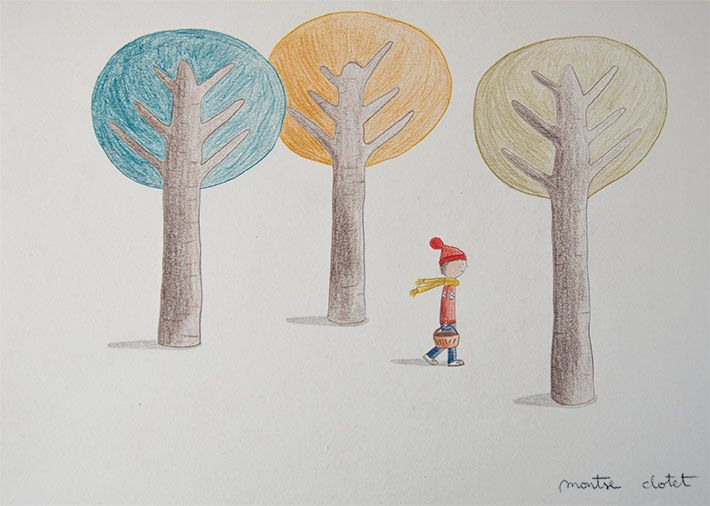 Little Red Riding Hat, by Montse Clotet. From the free printable calendar 2016 I'm preparing. Illustration, pencil, forest, children, little red riding hood.