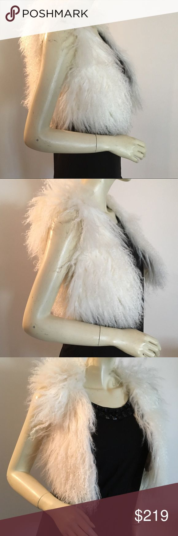 "NWT real fur vest S Mongolian lamb fur vest with Hook & eye closure. Fully Lined in polyester.  Size Small measurements: 32"" bust; 19"" length from shoulder to hem. NWT Adrienne Landau Jackets & Coats Vests"