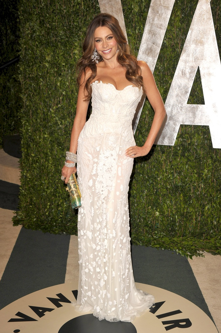 Sofia Vergara's Top Ten Red Carpet Looks // stunning white embroided dress, could even be a wedding look