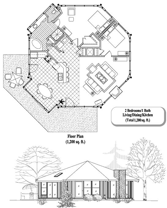 Topsider Homes House Plans: Patio Collection PT-0405, 1200 sq. ft., 2 Bedrooms, 1 Baths