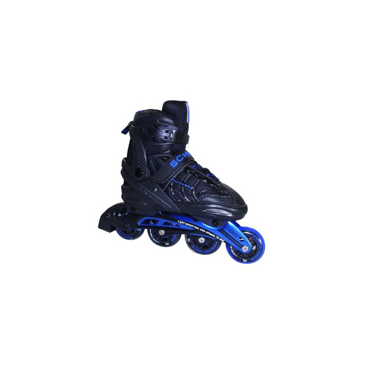 The Schwinn adjustable adult inline skates features a molded shell that adjusts sizes with the push of a button. Form fitting comfort liner and cam-lever buckle for a perfect fit. Great for older kids learning to skate or for mom's and dad's looking for a new fitness routine!
