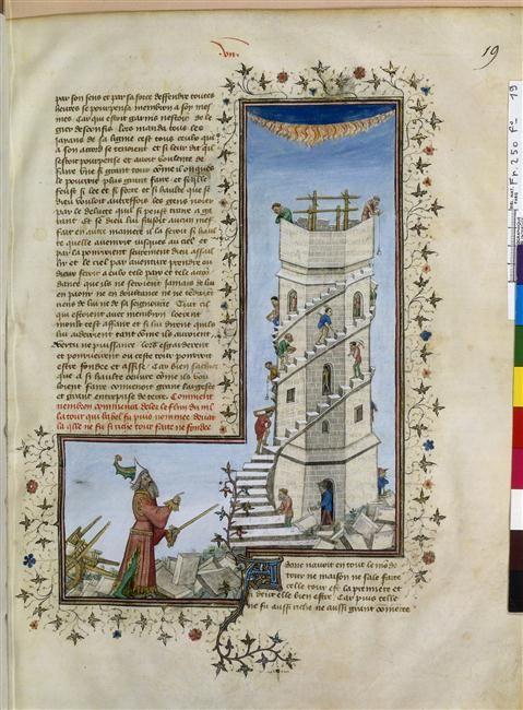 Construction de la Tour de Babel Maître de la Mort (15e s.) - Histoire ancienne jusqu'à César et Faits des Romains - Construction de la Tour de Babel - BNF