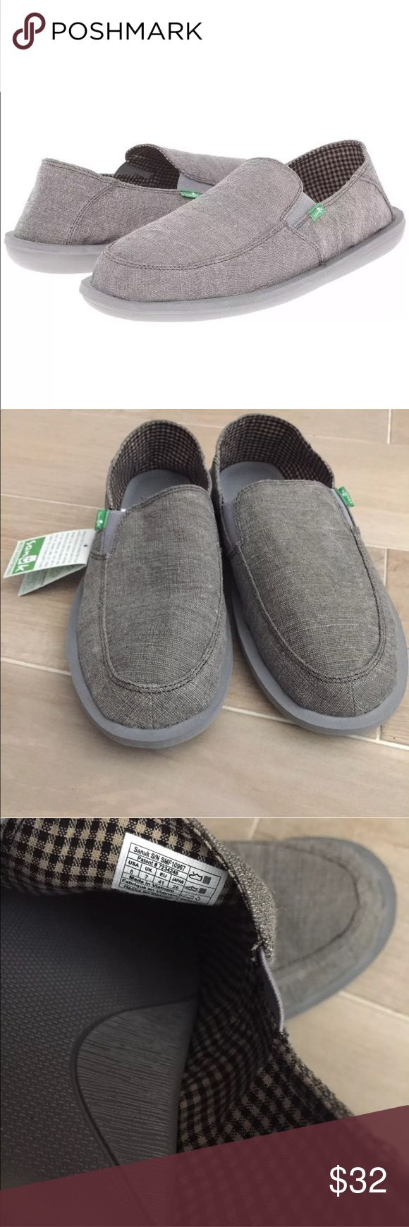 Men's Sanuk 8 Gray slip on casual shoes loafer Casual, stylish Gray Sanuk Slip on Shoes for Men Sanuk Shoes Loafers & Slip-Ons