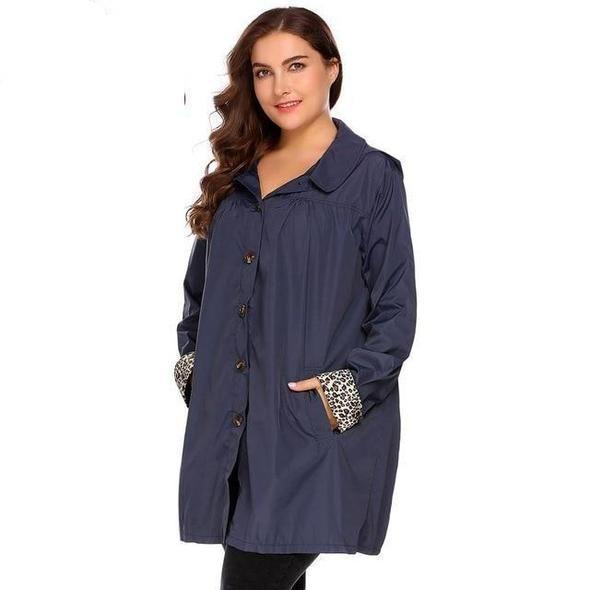 IN'VOLAND Plus Size XL 5XL Women Rain Jacket Coat Hooded