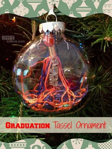 Save that Graduation Tassel now - for an easy peasy Christmas Ornament later (diy details on MissionToSave.com)