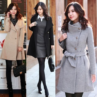Womens Slim Fit Wool Winter Trench Coat Jacket Parka Outerwear 3 Color | eBay