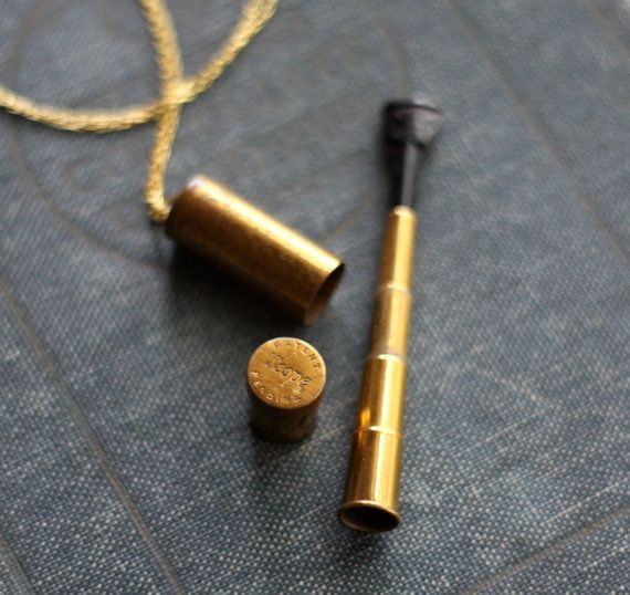 Vintage 40's 50's Brass Scope Telescoping Cigarette Holder Canister Vial Necklace