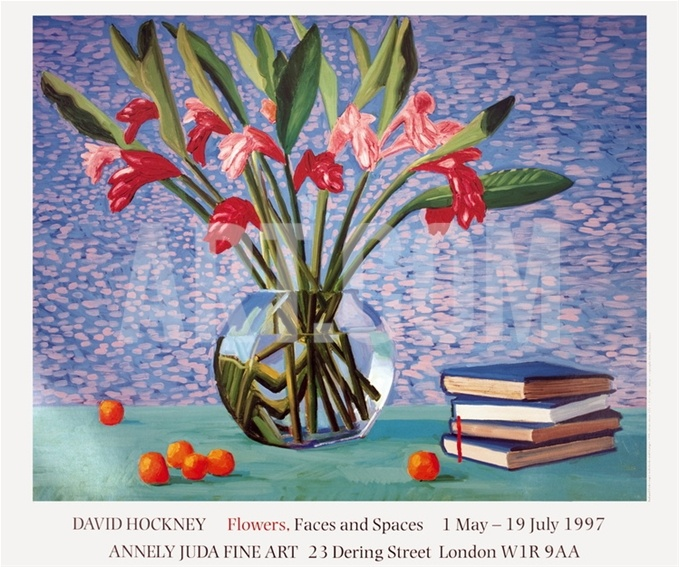 Red and Pink Ginger with Books and Oranges by David Hockney