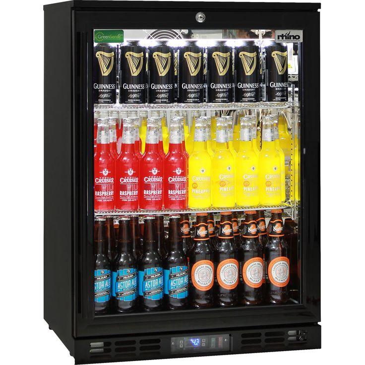 Quiet Running Glass Door Bar Fridge Energy Efficient Rhino - Great For Indoors