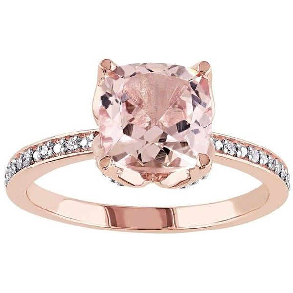 10k Rose Gold Morganite & Diamond Accent Engagement Ring found on Polyvore featuring jewelry, rings, pink, pave engagement rings, round cut engagement rings, rose gold ring, enhancer ring and cushion cut ring