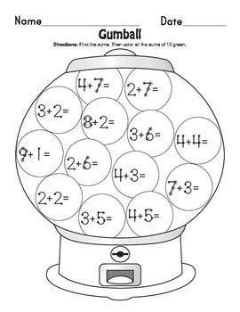 I used these addition worksheets to help my students learn how to add by counting all the dots.  The students love the hidden messages and using the coloring key.  The worksheets included are:A Bushel of Apples (color key green, yellow, red)Gumball (color sums of 10)Whoo's Ready for School? (hidden message at the end)Treasure Hunt (hidden message at the end)Ocean Fun (color sums of 1, 2,3,4, 5, 6)Hope you like it!