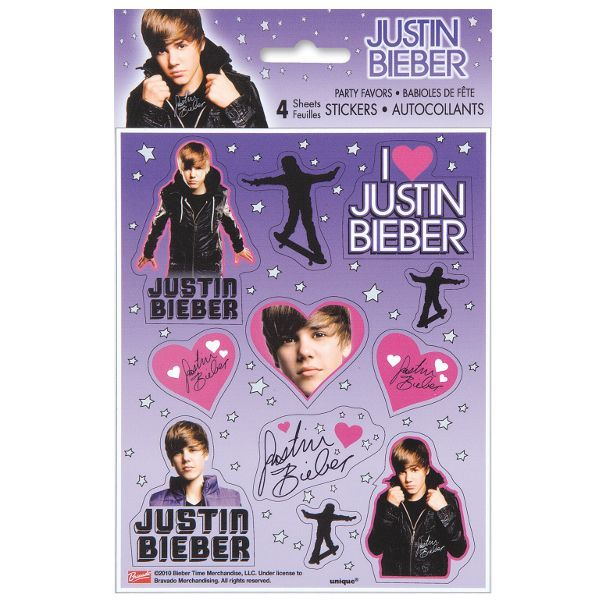 Justin Bieber Sticker Sheets 4ct