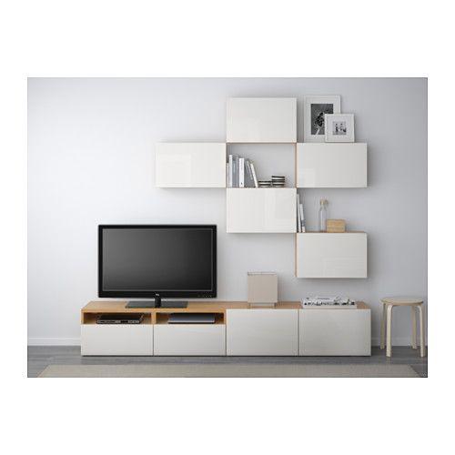 best tv storage combination oak effect selsviken high. Black Bedroom Furniture Sets. Home Design Ideas