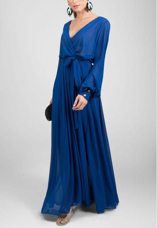 Vestido longo de manga comprida fluído azul bic Powerlook - powerlook-V-MOB