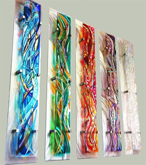 Contemporary Wall Art Made With Fused Dichoric Glass Installed Over  Polished Aluminum.