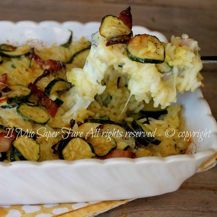 Timballo di riso zucchine e pancetta filante e gustoso