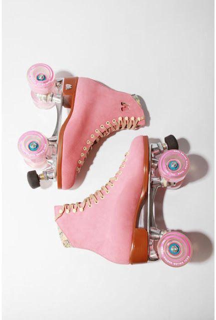 Pink. Pink Skates. Pink Roller Skates. Skate Away. Retro. Vintage. Pink…