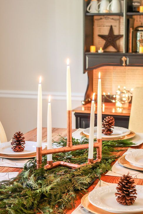 How To Turn Copper Pipes Into The Prettiest Holiday Centerpiece Christmas Table Decorations Christmas Centerpieces Homemade Christmas Decorations