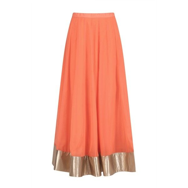 Gold embroidered long kurta with orange skirt and cape available only... ($805) ❤ liked on Polyvore featuring skirts, orange skirt, long orange maxi skirt, long skirts, long maxi skirts and long orange skirt