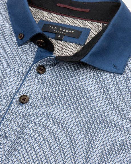 Geo print polo shirt - Blue | Tops & T-shirts | Ted Baker