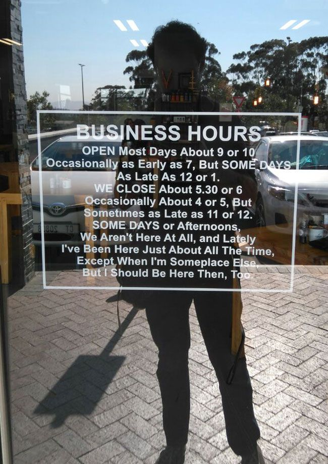 This cafe near me has slightly odd business hours