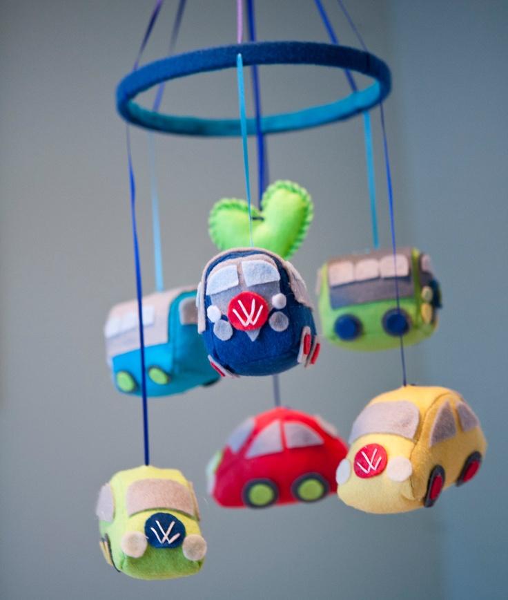 Baby VW Volkswagen Bus and Beetle Nursery Mobile $100 00