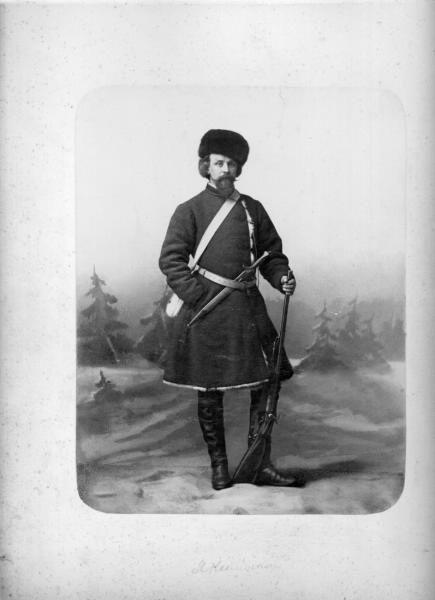 Мужчина в охотничьем костюме с ружьем, 1860 - 1863