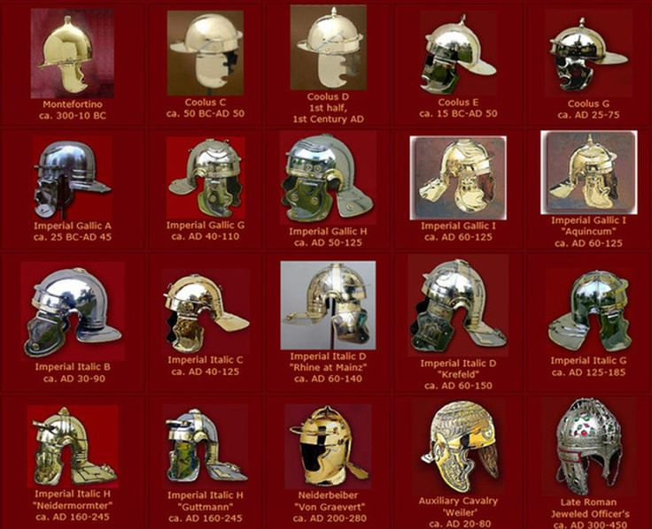 The Roman  galea  (helmet) evolved over time. Click on image for full-size view.