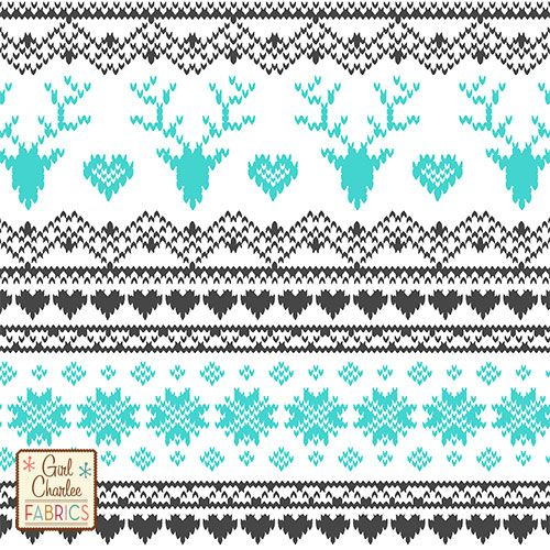 """Turquoise Charcoal FairIsle Deer Heart on White Cotton Jersey Blend Knit Fabric - A new Girl Charlee Exclusive design!! A vintage style Fair Isle stitched sweater design that looks like a knitted sweater pattern with reindeer, hearts, and snowflakes in turquoise and charcoal gray on our soft white cotton jersey blend knit. Fabric is light to mid weight with a nice stretch so can be used for many different applications. Stag deer measures 2 """". Made in Los Angeles! :: $6.50"""
