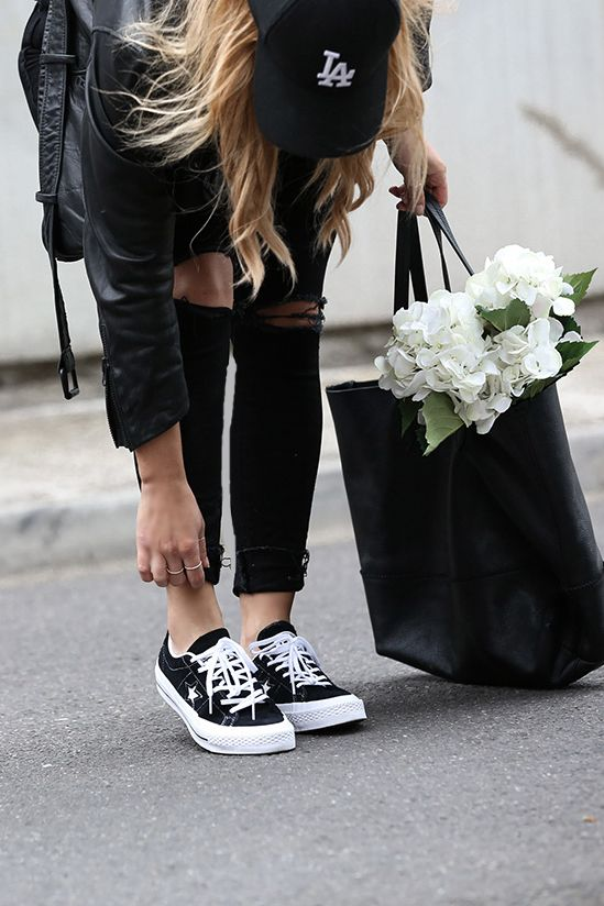 Converse One Star Sneakers worn by fashion blogger Lisa Hamilton from See Want Shop