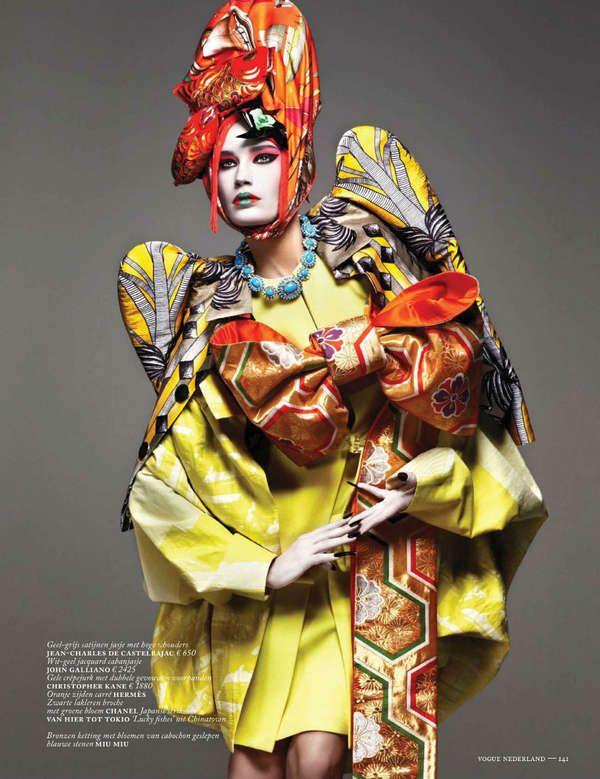 Futuristic Geisha Editorials - Eugenia Volodina by Ishi for Vogue Netherlands March 2013