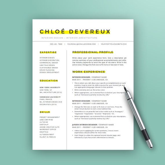 creative resume template instant download word cv template design simple resume design - Simple Resume Cover Letter