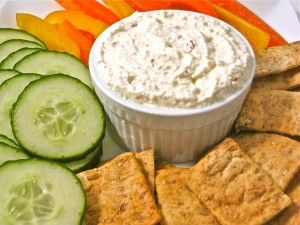 Skinny Feta-Yogurt Dip! This new dip is super easy and really fantastic. It's become my go-to dip since everyone loves it! So decadent tasting, it's hard to believe it's made with all fat-free ingredients except 1 tablespoon olive oil. Each tablespoon has 33 calories, 1 gram of fat and 1 Weight Watchers POINTS PLUS. http://www.skinnykitchen.com/recipes/skinny-feta-yogurt-dip/