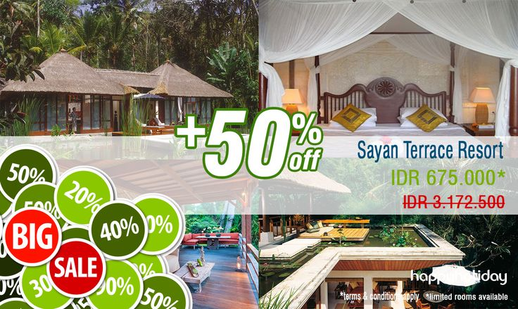 """Ubud promo """" Special October Month 2014 """"  Get a special prices + 50% discount !!  For """" Sayan Terrace Resort """" up to 31 October 2014  Book now >> http://www.happyholiday.travel/hotel/ubud/sayan-terrace-resort-896?utm_source=www.happyholiday.travel&utm_medium=Pinterest&utm_term=Hotel%20Promo&utm_content=Sayan%20Terrace%20Resort&utm_campaign=Special%20Promo%20for%20Sayan%20Terrace%20Resort"""