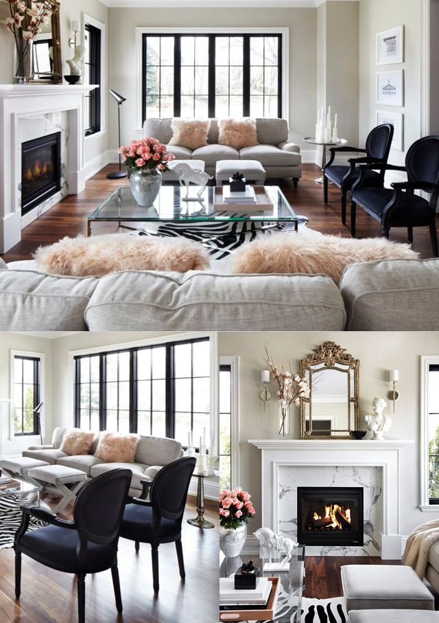 Beautiful Parisian chic living room with marble, muted colors, and various patterns and textures.