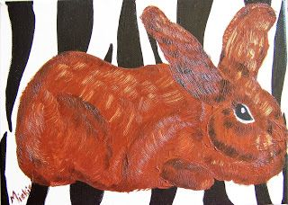 A Pretty Talent Blog: Painting A Modern Bunny in Oils and Acrylics