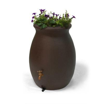 Algreen Castilla Brownstone 50 Gallon Decorative Rain Barrel with Planter-81313 at The Home Depot