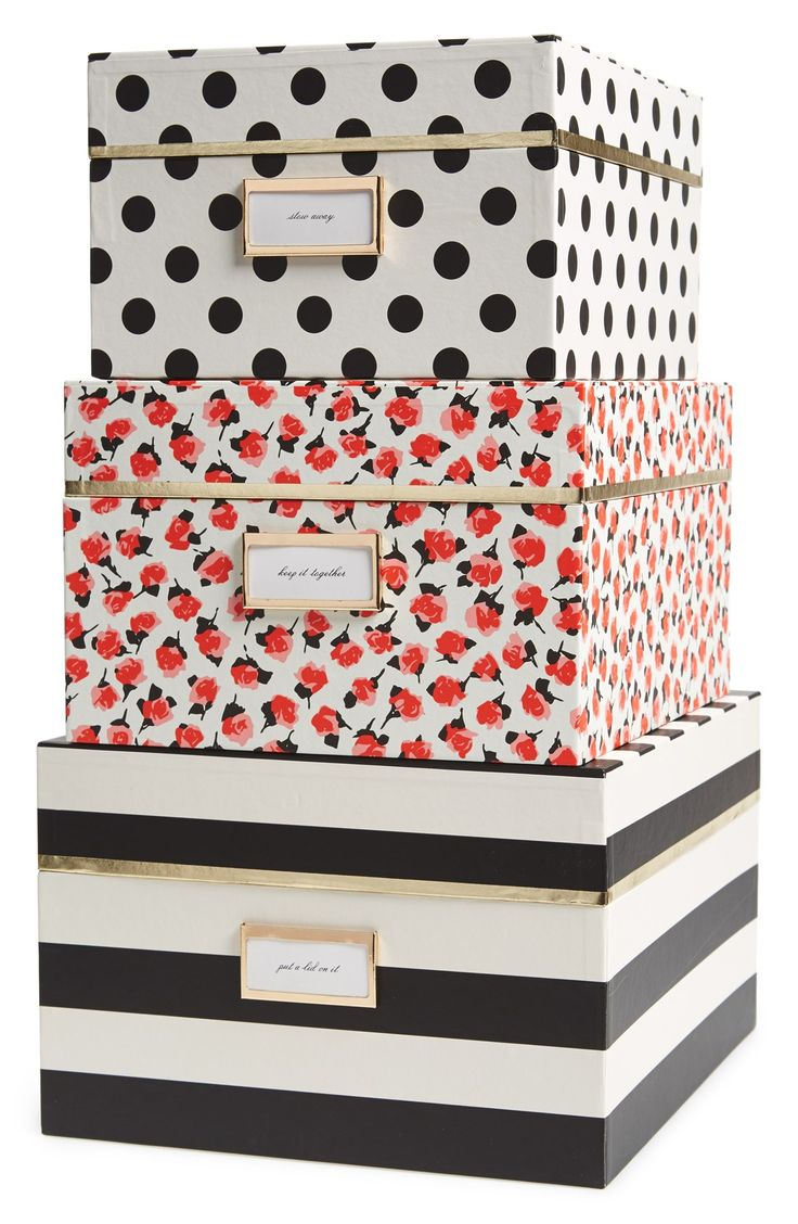 my love for kate spade is forever growing! boxes to get organized in your home but still be stylish and classic! great home storage idea!