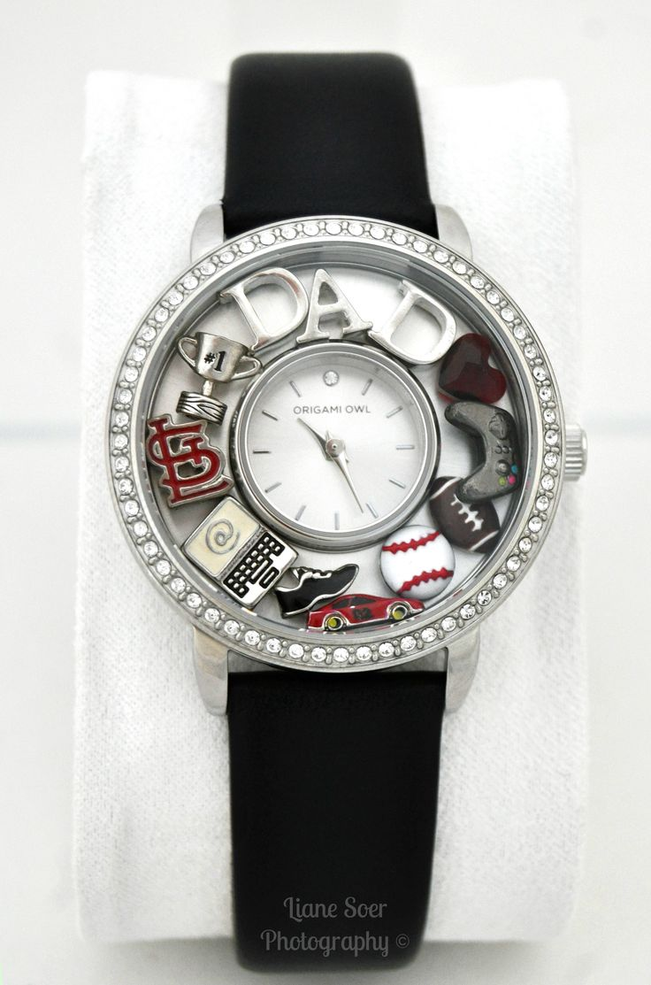 A watch for Dad. An Origami Owl watch can be filled with he things he loves. Great gift for Fathers Day. Find it and more at lianesoer.origamiowl.com #OrigamiOwl #watch #dad #FathersDay #football #baseball #racecar #videogamecontroller