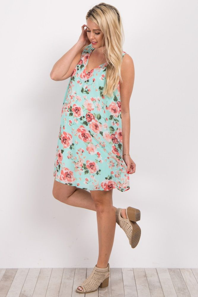 d30555326e6 Mint Green Floral Chiffon Sleeveless Maternity Dress
