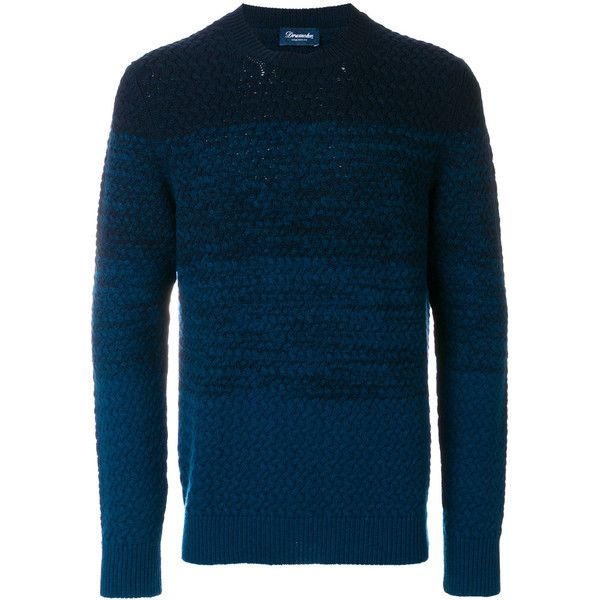 Drumhor Crew-Neck Sweater (€265) ❤ liked on Polyvore featuring men's fashion, men's clothing, men's sweaters, blue, mens crew neck sweaters, men's wool crew neck sweaters, mens crewneck sweaters, mens wool sweaters and mens blue sweater